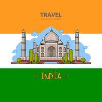 Indischer Palast im nahtlosen Muster des Hintergrundes und auf dem Hintergrund der Flagge.