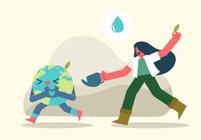 Söt tjej spara jord vektor karaktär illustration