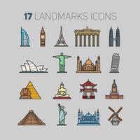 17 Wahrzeichen aus aller Welt, in einer Konturtechnik und in flachen Farben.