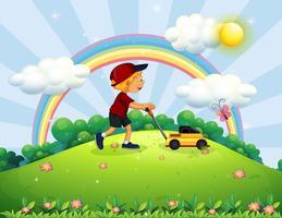 Junge, der Rasenmäher den Garten drückt vektor