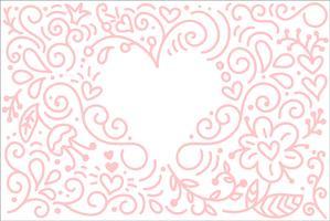 Vektormonoline Kalligraphiehintergrund für glücklichen Valentinsgrußtag. Valentine Hand gezeichnete Elemente. Urlaubsskizze doodle Designkarte mit Herzrahmen. Getrennter Illustrationsdekor für Web, Hochzeit und Druck vektor