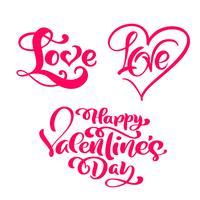 """Satz von roten Kalligraphiewort """"Liebe"""" und """"Happy Valentine's Day"""""""