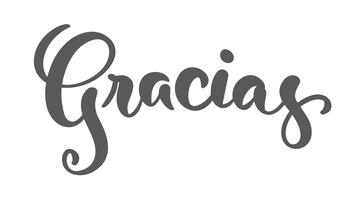 """Gracias"" (""Danke"" auf Spanisch) moderne Bürstenkalligraphie vektor"