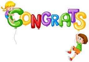 Tjej och pojke med ballongord congrats