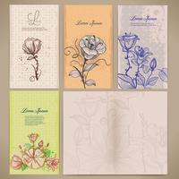 Set med vintage kort med blommor, mönstret inuti kortet vektor