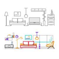 Tunn linje planlösning av modernt vardagsrum med möbler, färgversion av linjerna i överlagringslägefärgen.