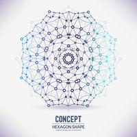 Abstrakt geometrisk gitter, omfattningen av molekyler, molekylerna i cirkeln. vektor