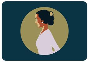 Potrait av en kvinna i Kartini Day Vector