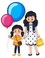 Mor och dotter med ballonger vektor