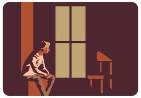 Deprimerad Man Och Hans Stol Vector