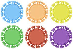 Runda märken i sex färger