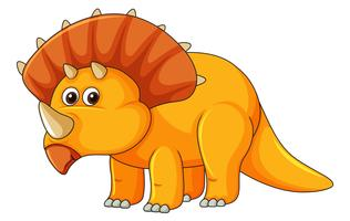 En triceratops på vit bakgrund