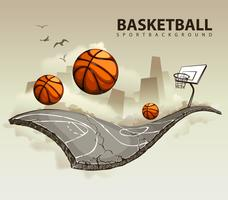 Vektorabbildung des surrealen Basketballplatzes vektor