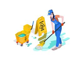 Frau in Uniform gekleidet wäscht den Boden im Büro und säubert. Professioneller Reinigungsservice mit Ausrüstung und Personal.