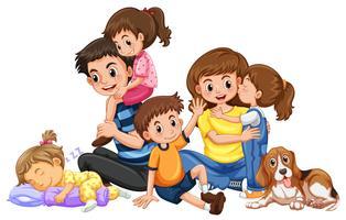 Lycklig familj med fyra barn och en hund
