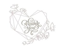 Danke grauer Kalligraphiebeschriftungs-Vektortext im Herzrahmen. Für Kunstvorlagenentwurfslistenseite, Modellbroschürenart, Fahnenideenabdeckung, Broschürendruckflieger, Plakat