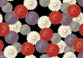 Nahtloses Chrysanthemenmuster im japanischen Trachtenstil. vektor