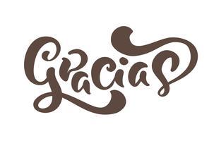 Gracias Vector text på spanska Tack. Skrivande kalligrafi vektor illustration. Element för reklamblad, banderoll och affischer. Modern kalligrafisk