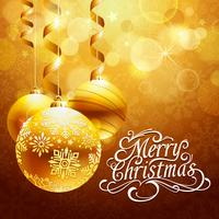 Weihnachtshintergrund mit Goldkugeln vektor