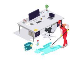 Kvinna klädd i uniform tvättar golvet på kontoret och rensar. Professionell städservice med utrustning och personal.