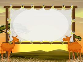 Ramdesign med två kameler i fältet vektor