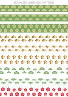 Set av japanska traditionella, sömlösa mönster, vektor illustration.