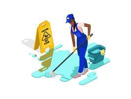 Schwarzes Mädchen in der Arbeitskleidung wäscht den Boden mit Wasser und Ausrüstung. Feuchter Boden der Vorsicht.