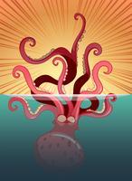 Jätte bläckfisk under havet vektor