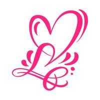 Heart love sign Vektor illustration. Romantisk symbol kopplad, gå med, passion och bröllop. Design platt element av valentinsdagen. Mall för t-shirt, kort, affisch