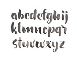 Brush Style Hand Drawn Alphabet akvarell typsnitt vektor