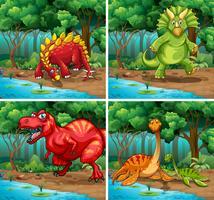 Fyra scener av dinosaurier i parken