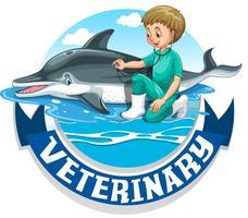 Veterinärskylt med veterinär och delfin