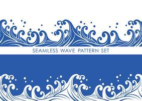 Set av japanska traditionella sömlösa vågmönster, vektor illustration.