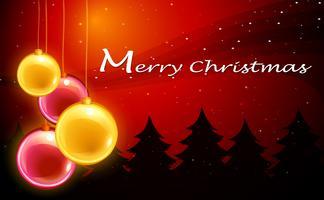 En julkortsmall med gnistrande bollar vektor