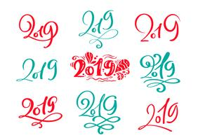 Satz des Vektorskandinavischen kalligraphischen Beschriftung Weihnachtstextes 2019 Design-Kartenschablone. Kreative Typografie für Holiday Greeting Gift Poster. Kalligraphie-Schriftstil Banner