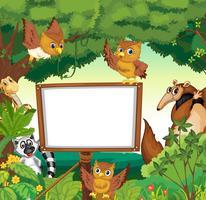 Wilde Tiere und weiße Tafel im Dschungel vektor