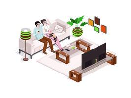 Glad familj tittar på tv hemma, inredning med möbler. Man och kvinna på soffan.