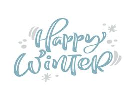 Glücklicher Winter blauer Weinlesekalligraphiebeschriftungs-Vektortext mit Winterzeichnungsdekor. Für Kunstdesign, Mockup-Broschürenstil, Bannerideenabdeckung, Broschürendruck-Flyer, Poster vektor