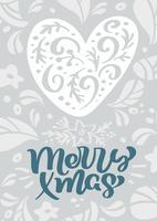 Vektorkalligraphie-Beschriftungstext fröhlicher Weihnachtsskandinavischer im Weihnachtsgrußkartendesign mit Herzen. Hand gezeichnete Illustration der Blumenbeschaffenheit. Isolierte Objekte