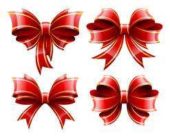 Vektor uppsättning vackra röda gåva baws