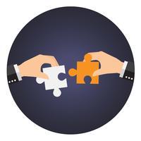 Affärsmän löser överdimensionellt pusslet tillsammans