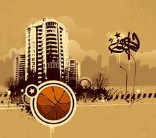 Grunge städtischer Basketballhintergrund