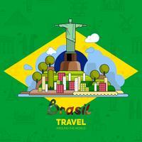 Brasilianska landmärken, arkitektur, på bakgrunden av flaggan.