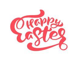 Röd lycklig påsk Handritad kalligrafi