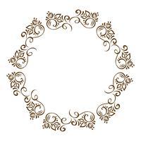 Handdragen Floral Autumn Design Elements krans isolerad på vit bakgrund för retro design blomstra. Vektor kalligrafi och bokstäver illustration bläddra