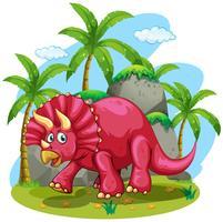 Röd dinosaur i djungeln vektor
