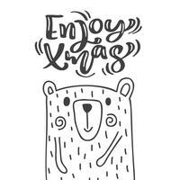 Hand gezeichnete skandinavische Illustration kleiner netter Bär. Genießen Sie Weihnachtskalligraphie-Vektor-Beschriftungstext. Weihnachtsgrußkarte. Isolierte Objekte