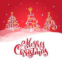 Kalligraphie-Beschriftungs-Vektortext der frohen Weihnachten roter auf Gruß Weihnachtskarte mit Weinlesetannenbäumen. Für Designvorlagenliste für Kunstvorlagen, Modellbroschüre