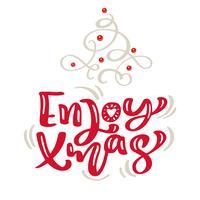 Hand gezeichneter skandinavischer Flourishillustrationstannenbaum. Kalligraphievektorbeschriftungstext der frohen Weihnachten. Weihnachtsgrußkarte. Isolierte Objekte