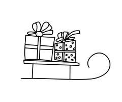 Frohe Weihnachten Karte Konzept. Weihnachtsschlitten mit zwei Geschenkboxen. Geschenke und Geschenke. Isolierte vektorabbildung. Karte des neuen Jahres mit Santa Claus-Karikaturschlitten